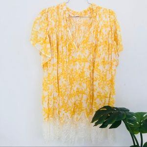 Free people yellow floral lace trimmed tunic